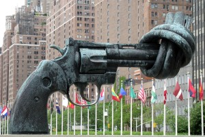 The Knotted Gun by Carl Fredrik Reutersward at the United Nations in New York