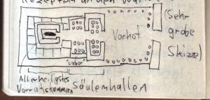 Grobe Skizze des Tempels von Edfu
